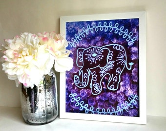 Hippie bohemian, tribal elephant art print, poster for baby nursery, dorm room, apartment, or home decor
