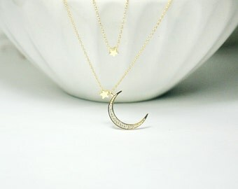 CZ Moon Necklace,2 layer necklace,  Moon with 2 star Necklace.Star and Crescent Moon Necklace, Layered Necklace, Gold Moon star necklace,