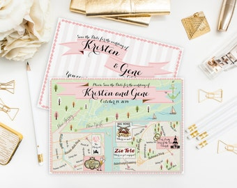 Custom Wedding MAP- Any Location Available- New York/ New Jersey Map Pictured