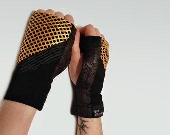 Black short fingerless gloves jersey arm warmers futuristic cyberpunk urban biking - WRW1