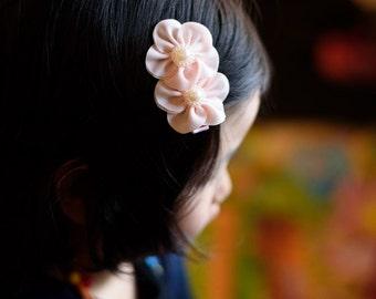 chiffon hair clip - pink flower hair bow -  you choose color 125