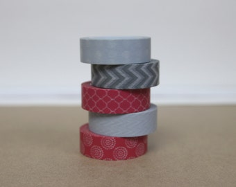 Washi Tape Set of 5 - Coral red & gray - 1009/1012/8006/8011/8012