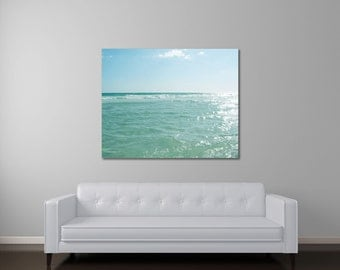 Ocean Canvas Art, Seascape Photography, Beach Art, Mint Green Wall Art, Seafoam Green Decor, Peaceful Water Canvas Art, Ocean Wall Art