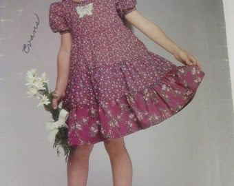 See and Sew 5254 Uncut Sewing Pattern Girls Tiered Dress Sizes 5 - 6- 6x