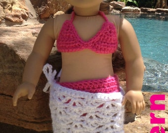 "American girl doll crochet Pattern for swimsuit bikini for 18"" dolls swim bathing suit"