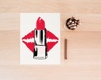 Makeup Poster, Lipstick Printable, Red Lipstick, Kiss Print,  Wall Art Print, Office Decor, Instant Download, Printable Art, Fashion Art
