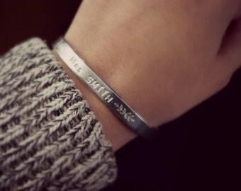 Mrs Bracelet, Wedding Bracelet, Just Married Gift, Silver Cuff, Laurel Branch, Bride Bracelet, Married name