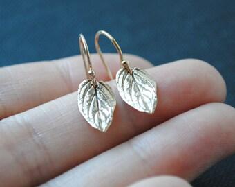 Leaf Earrings, Gold Leaf Earings, Bronze Leaf Earrings, Leaf Jewelry