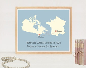 Custom Long distance friendship map printable - Personalized Long Distance Maps poster - DIGITAL FILE!