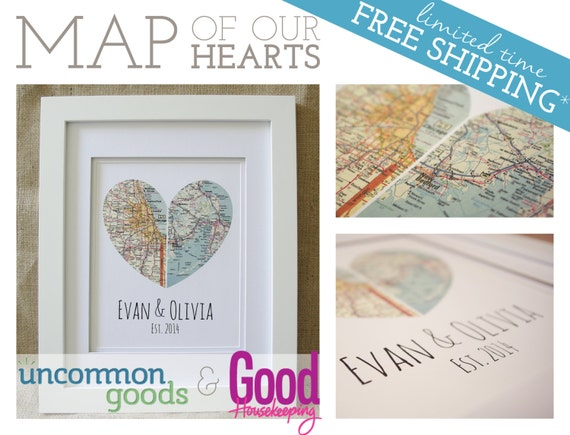 Art Piece Wedding Gift : Map of Our Hearts - Personalized Art Piece - Makes a wonderful wedding ...