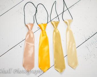 Yellow Boys Tie, Boys Tie Birthday Photo Prop, Champagne Ring Bearer Wedding, Gold Boys Tie, Newborn, Toddler First Birthday, Boys Necktie