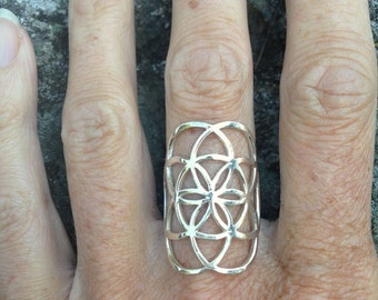 Sterling Silver Seed of Life Ring, Sacred G Geometry Flower of Life Full Power Jewelry - R304