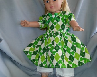 St. Patrick's and Irish costumed dress for American Girl and 18 inch dolls