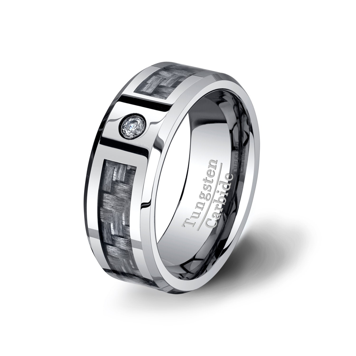 Mens Wedding Band Tungsten Ring Carbon Fiber By TungstenOmega