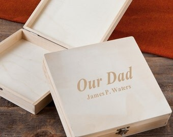 Our Dad Personalized Keepsake Box - Father's Day Memory Box - Engraved Wood Keepsake Box - Memorial Box - Family Heirloom - GC1216