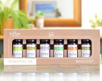 Certified Organic Essential Oils Starter Kit - 6 oils - Lavender, Peppermint, Lemongrass,  Tea Tree, Eucalyptus, Sweet Orange