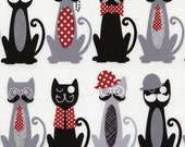 Cat Fabric, French Cats with Moustache cotton Fabric -  Cats & Dogs Collection for Timeless Treasures C3715 White - 1/2 yard