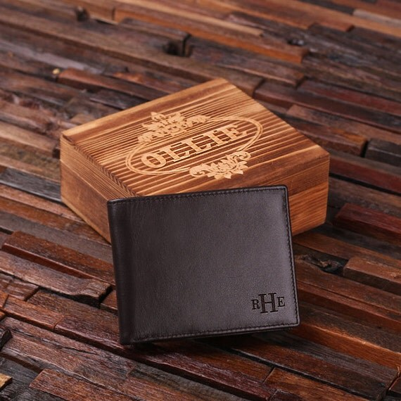 Personalized Monogrammed Engraved Genuine Leather Bifold Mens