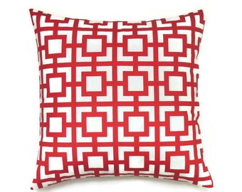 Red Geometric Pillow, 20x20 Pillow Cover, Decorative Pillows, Accent Pillow, Red and White Couch Pillow, Cushion Cover, Gigi Carmine Red