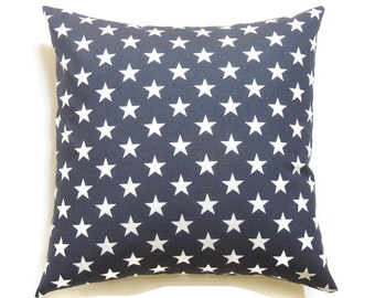 Patriotic Pillow Cover, 20x20 Navy Blue Decorative Pillows, Star Pillow, Memorial, Labor, Fourth of July, Summer, Decor, Stars Blue
