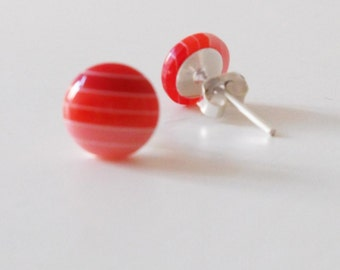 Tiny 8mm Red Multi Striped Retro Stud Earrings