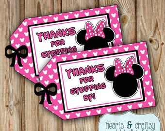 Minnie Mouse Party Favor Tags / Gift Tags  / Minnie Mouse Birthday Party - FILE to PRINT DIY