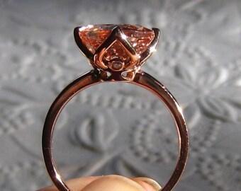 Morganite Engagement Ring in Rose Gold Tulip Setting, Morganite Rose Gold Engagement Ring