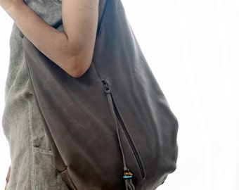 Large Leather Tote, Hobo bag, with tassel, handmade, bohemian look, turquoise stone