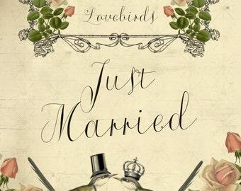 printable wedding sign, digital wedding sign,printable just married sign, lovebirds wedding sign, 8 x 10, you print