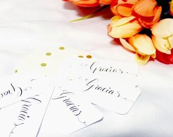 Gracias Tags, Thank You Tags, Destination Wedding, Punta Cana, Wedding Favor, Spanish Wedding, Calligraphy Tags, Party Favors, Cinco De Mayo