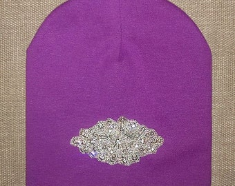 Chic Girls/Toddler Purple/Pink/Blue/Gray/Black Cotton Beanie hat with Rhinestone Crystal/Rhinestone Applique
