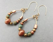 Hammered Hoop Earrings; Metallic Bead Earrings; Verdigris Earrings; Copper; Bronze; Oval Hoop Earrings