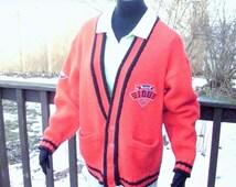Mens Preppy Cardigan Sweater, Mens Vintage Sweater, Mens Button Down Cardigan, Oversized Sweater, Red Prep School Sweater. Mens Size Medium