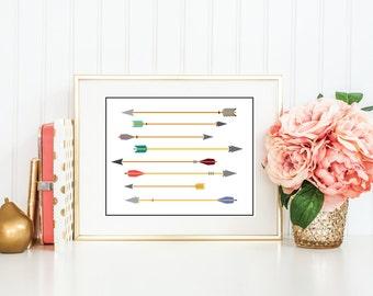 Multicolor Tribal Arrows | 8x10 Print