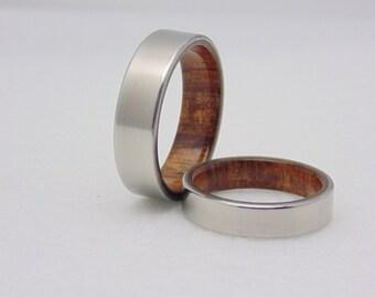 Hochzeitsband set Koa Holz und Titan Titan Matching und Holz Ringe