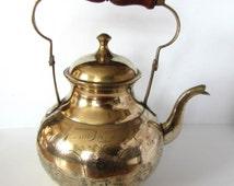 Stunning Large Antique/Vintage Brass Kettle/Pot - Indian Design - Folding Handle /MEMsArtShop.
