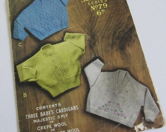Vintage Baby Cardigan Pattern Sirdar 79 6 to 12 months