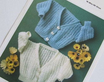 Vintage Baby Knitting Pattern Cardigan Keynote 145 16 - 20 Inches