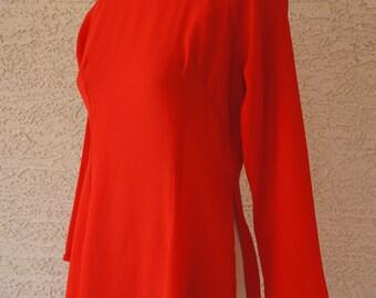 Vintage 1960s Red Sheer Dress w/ Mandarin Collar Size S