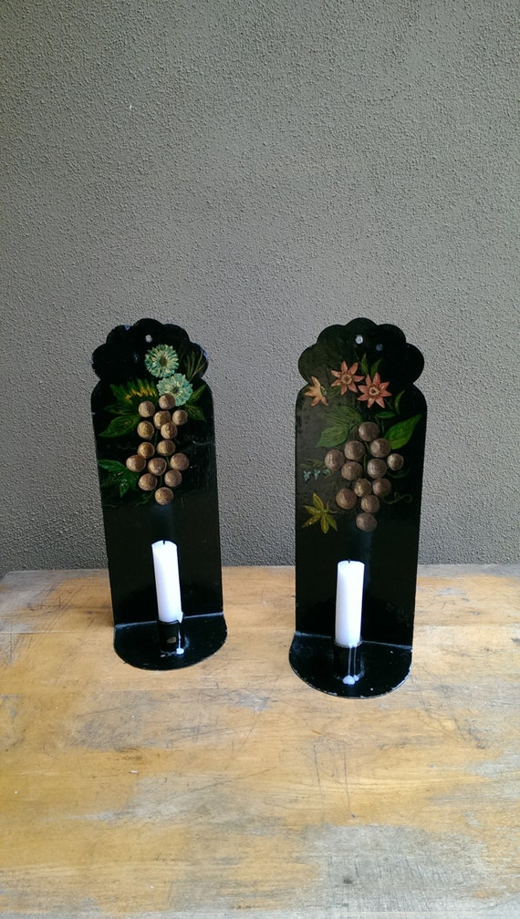 Tin Wall Sconce Candle Holder : Hand Painted Metal Wall Sconce Candle Holders