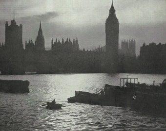 Big Ben London 1950s vintage Print Colour photograph Vintage City old print Londons Landmarks
