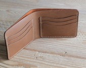Handmade Six Slot Leather Men's Bifold Wallet - Made in USA - Handstitched - Horween Leather - Custom Monogram - Brown