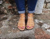 Gladiator Stripe Sandals / Genuine Greek High Quality Leather / Natural Color Leather / Rubber Sole / Ankle Strap Sandals