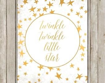 8x10 Twinkle Twinkle Little Star Print, Nursery Rhymes Art, Metallic Gold Art, Nursery Decor, Digital Art Poster, Instant Digital Download