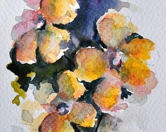 ORIGINAL Watercolor Flowers, Yellow Primrose Painting, Floral Watercolor Art 4x6 inch