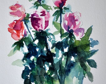 ORIGINAL Watercolor Painting, Still Life Floral Painting, Pink Rosebuds Flower Bouquet In a Vase 5.5x8 Inch