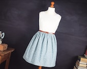 Cotton & Lace Dress B36 W28. Vintage Style Tea Dress in Blue Floral Vintage Cotton. Swing Dress Rockabilly Dress Summer Style