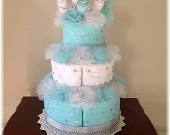 3 Tier Baby Sock Bouquet Burp Cloth Cake - Teal and Silver Polka Dot – Baby Shower Table Centerpiece – Nursery Décor – Gender Neutral