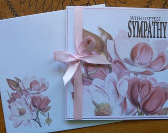 Greeting Card -With Deepest Sympathy Card - Sympathy, Condolence, Death, Sincere Sympathy, Floral, Pink. ribbon