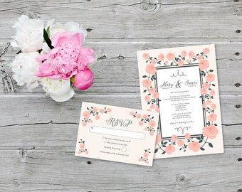 Wedding Invitation for Garden Wedding with Rose Vines in Pink